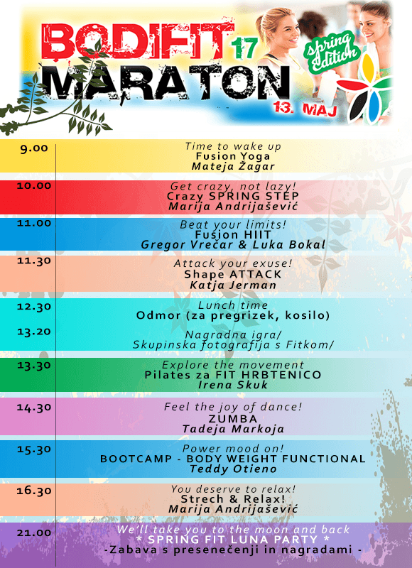 Urnik maratona športne Pomladi